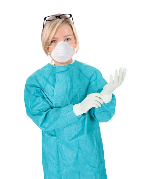 Disposable Surgeon Apron Gown, Face Mask, Hand Gloves Compelet Set